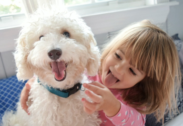 Little girl sticks her tounge out just like the family dog